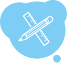 A white icon inside a blue thought bubble showing a crossed pencil and ruler