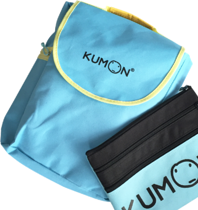 A photograph of a kumon branded childs backpack