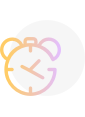 A yellow and purple icon showing a clock.