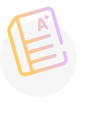 A yellow and purple icon showing an A plus graded paper.