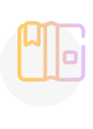 A yellow and purple icon showing an open book.
