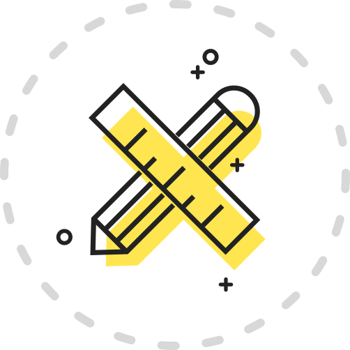 A yellow icon showing a crossed pencil and ruler.