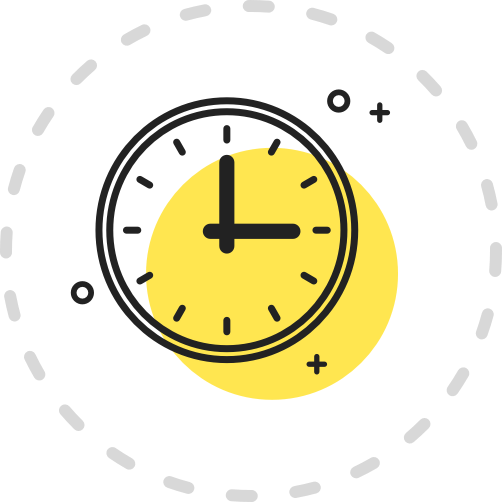 A yellow icon showing a clock displaying the time 3 o'clock.