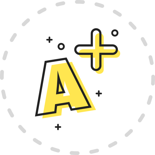 A yellow icon showing an A plus grade.