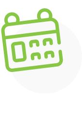A green icon showing a calendar.