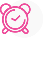 A pink icon showing an alarm clock.
