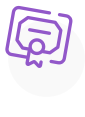 A purple icon showing a diploma.