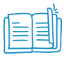 A blue icon showing an open book.