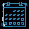 A blue icon showing a calendar.