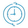 A blue icon showing a clock.