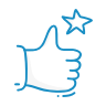 A blue icon showing a thumbs up with a star.