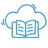 A blue icon showing an open book in front of a cloud.