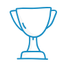 A blue icon showing a trophy.